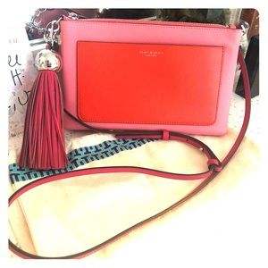 Tory Burch colorblock crossbody bag in poppy